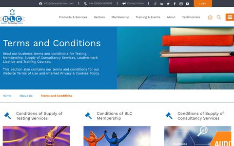 Screenshot of Terms Page blcleathertech.com - Terms and Conditions | BLC Leather Technology Centre Ltd - captured Oct. 9, 2017