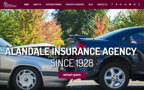 Screenshot of Home Page alandale.com - Alandale Insurance Agency: California Insurance Agents - captured Oct. 7, 2017