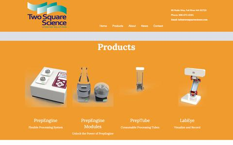 Screenshot of Products Page twosquarescience.com captured Oct. 19, 2018