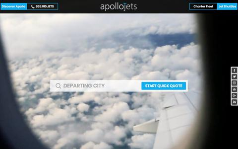 Screenshot of Home Page apollojets.com - Jet Charter by Apollo Jets - captured Sept. 11, 2018