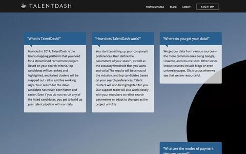 Screenshot of FAQ Page talentdash.com - FAQS - TalentDash - captured July 9, 2018