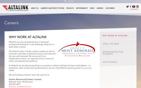 Screenshot of Jobs Page altalink.ca - Why Work at AltaLink | AltaLink - captured Dec. 24, 2015