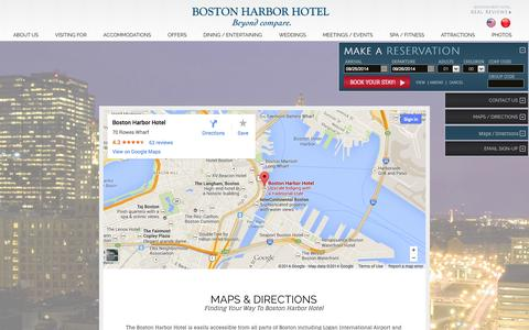 Screenshot of Maps & Directions Page bhh.com - Hotels on Boston Harbor | Boston Harbor Hotel | Boston, Massachusetts - captured Sept. 25, 2014