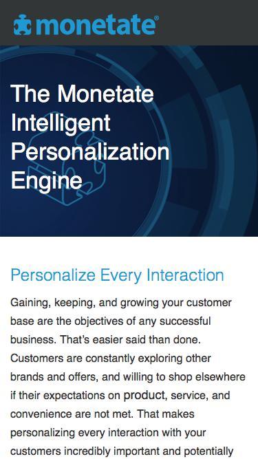 Monetate Intelligent Personalization Engine™ Datasheet | Monetate