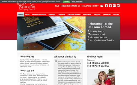 Screenshot of Home Page purerelocation.co.uk captured Oct. 3, 2014