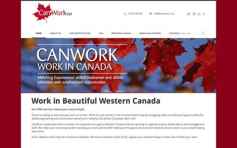 Screenshot of Home Page canwork.co.uk - CanWork | The agency for construction personnel who want to work in Canada - captured Sept. 27, 2014