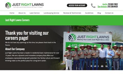 Screenshot of Jobs Page justrightlawns.com - Just Right Lawns Careers - Just Right Lawns - captured Nov. 27, 2016
