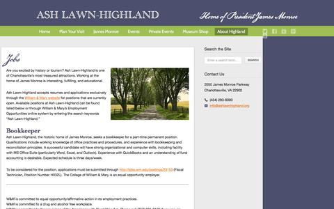 Screenshot of Jobs Page ashlawnhighland.org - Ash Lawn-Highland  � Jobs - captured Dec. 26, 2015