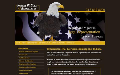 Screenshot of Home Page york-law.com - Robert W. York & Associates   Indianapolis Indiana Litigation Attorney   Muncie Carmel Fishers Marion County IN - captured Jan. 26, 2015