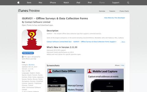 Screenshot of iOS App Page apple.com - iSURVEY - Offline Surveys & Data Collection Forms on the App Store on iTunes - captured Oct. 22, 2014