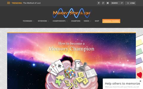 Screenshot of Home Page memory-sports.com - Memory-Sports: How to become a Memory Champion - captured May 21, 2016