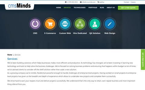 Screenshot of Services Page cmsminds.com - Leading Web Development Company in Wordpress, Drupal, Magento & PHP - captured Nov. 2, 2018