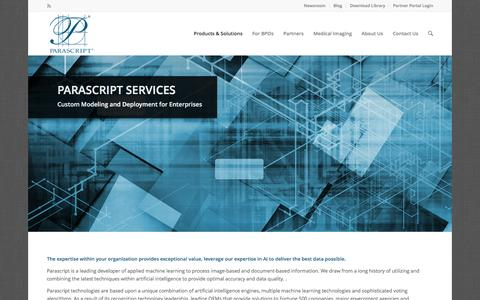 Screenshot of Services Page parascript.com - Services | Document Recognition (IDR) | Parascript - captured March 12, 2017