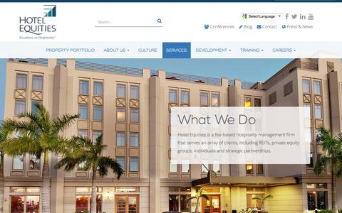 Screenshot of Services Page hotelequities.com - Hospitality Management Company - Hotel Consulting and Food & Beverage Services - captured July 17, 2016
