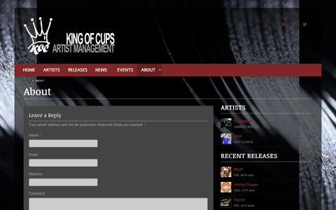 Screenshot of About Page kingofcupsmanagement.com - About - King of Cups ManagementKing of Cups Management - captured Oct. 6, 2014