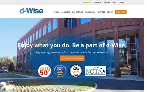 Screenshot of Jobs Page d-wise.com - Healthcare Technology & Life Science Practice Careers | d-Wise - captured Nov. 5, 2015
