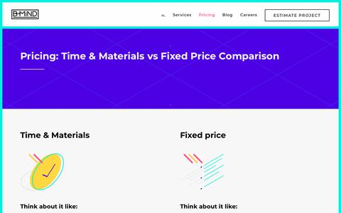 Screenshot of Pricing Page b-mind.pl - Pricing: Time & Materials vs Fixed Price Comparison – Creative Software House & Interactive Agency, IT Outsourcing — B-MIND - captured July 17, 2018