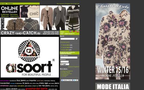 Screenshot of Home Page crazy-and-catch.eu - CRAZY-and-CATCH.eu Jeans wholesale: Crazy Age, BT jeans, Girl Vivi, New Play, Seyoo, Sky Jeans, Leggigs, Leggings, Young Fashion, XXL. Jeans Grosshandel - captured Nov. 21, 2015