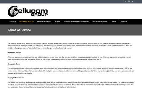 Screenshot of Terms Page cellucomgroup.com - Terms of Service | Cellucom Group - captured May 15, 2017