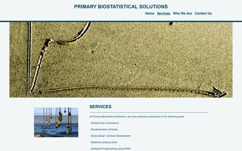 Screenshot of Services Page primarybiostat.com - Primary Biostatistical Solutions - Services - captured April 10, 2017