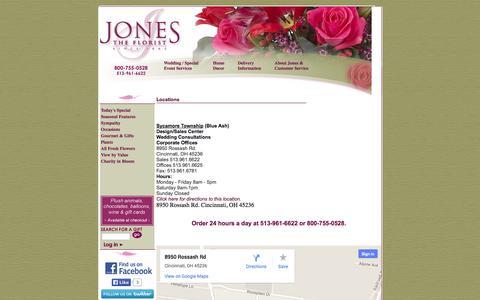 Screenshot of Maps & Directions Page jonestheflorist.com - Cincinnati Florist :: Jones the Florist in Cincinnati Flower Shop - captured Sept. 30, 2014