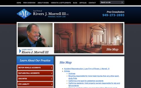 Screenshot of Site Map Page rjmlawfirm.com - Site Map   Law Firm of Rivers J. Morrell, III   Orange County, California - captured Oct. 2, 2014