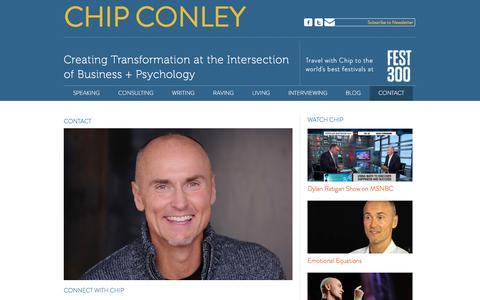 Screenshot of Contact Page chipconley.com - Contact | Chip Conley - captured April 19, 2016