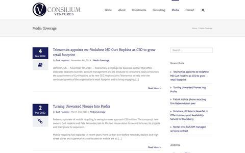 Screenshot of Press Page consiliumventures.com - Media - Consilium Ventures - captured Aug. 27, 2017