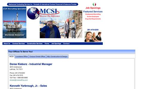 Screenshot of Contact Page mcsistaffing.com - Mechanical Contracting Services, Inc - Domestic & International Contract Personnel & Outsource Provider - captured Oct. 27, 2014