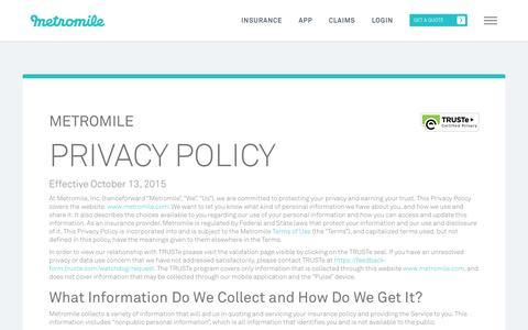 Screenshot of Privacy Page metromile.com - Privacy Policy - Metromile - captured July 4, 2016