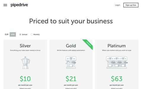 Screenshot of Pricing Page pipedrive.com - Pricing | Pipedrive - captured Jan. 28, 2017