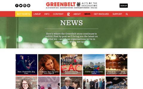 Screenshot of Press Page greenbelt.org.uk - News - Greenbelt - captured Sept. 25, 2018