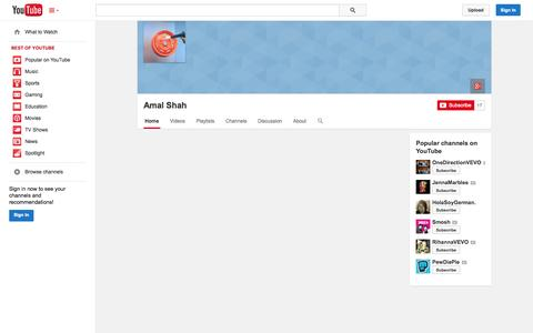 Screenshot of YouTube Page youtube.com - Amal Shah  - YouTube - captured Oct. 26, 2014