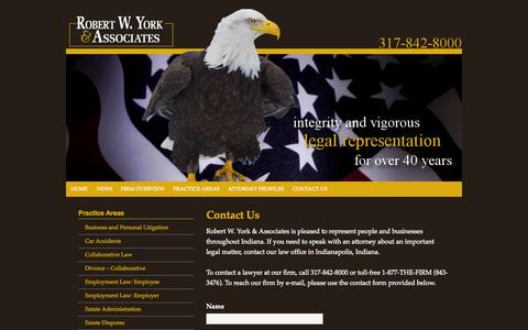 Screenshot of Contact Page york-law.com - If you need an experienced Indiana attorney, call 317-842-8000 to contact Robert W. York and Associates in Indianapolis, Indiana. - captured Oct. 6, 2014