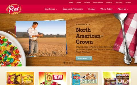 Screenshot of Home Page postfoods.com - Post Foods - Post Cereal | Post Foods - captured Jan. 26, 2015