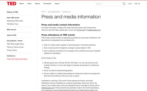 Screenshot of Press Page ted.com - Press and media information | Contact us | Our Organization | About | TED - captured Sept. 19, 2014