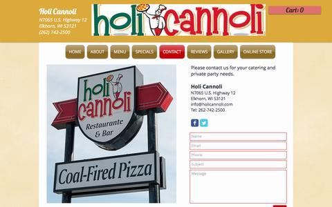 Screenshot of Contact Page holicannoli.com - Holi Cannoli Contact page - captured May 21, 2017