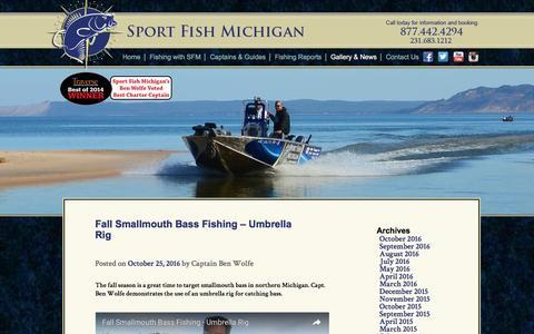 Screenshot of Blog sportfishmichigan.com - SFM Blog - Fishing Guide Services in Northern Michigan - captured Dec. 12, 2016