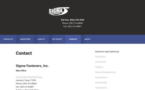Screenshot of Contact Page sigmafasteners.com - Contact - captured Oct. 22, 2019