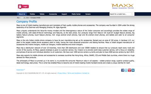 Screenshot of About Page maxxmobile.in - Company Profile - About Us - captured Sept. 25, 2014