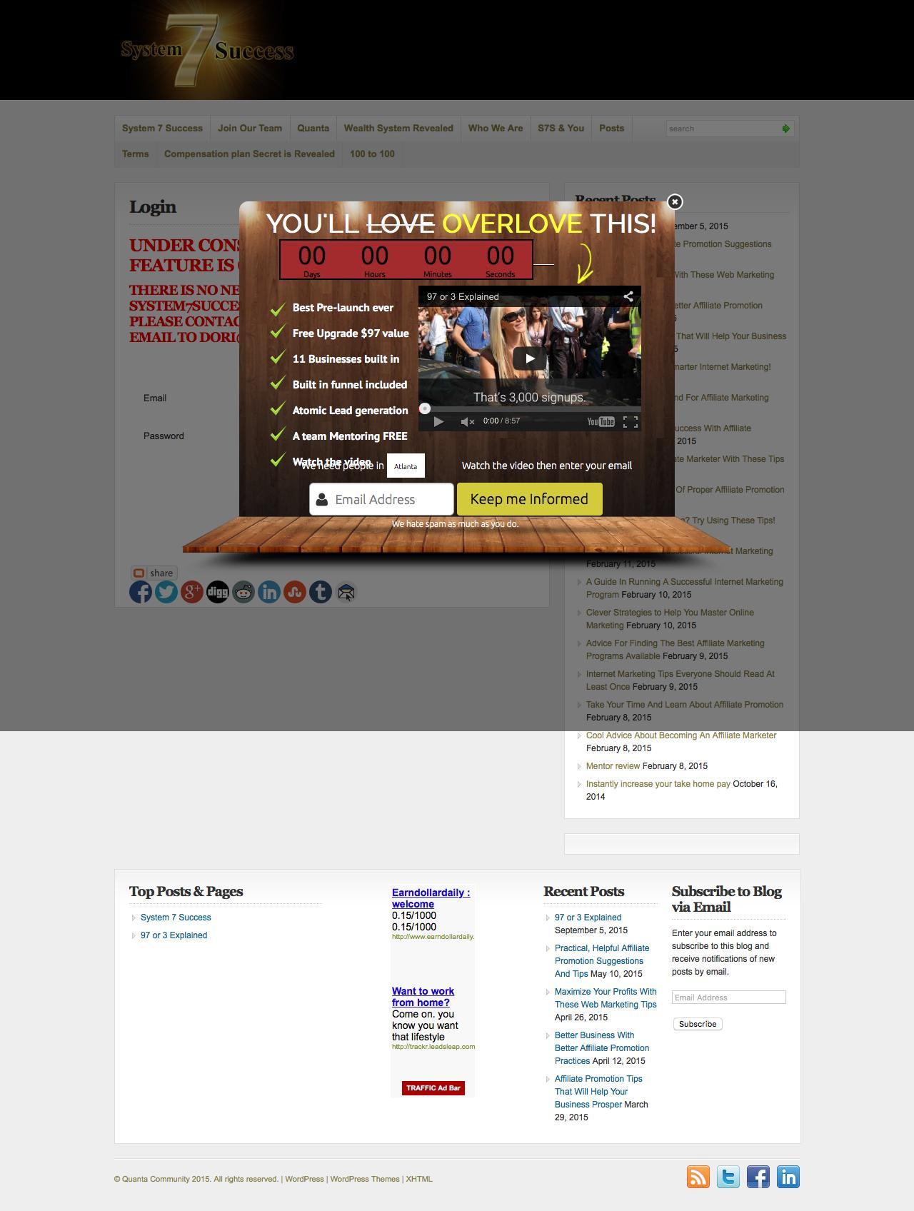 Screenshot of system7success.com - Login - Quanta Community  : Quanta Community - captured Dec. 9, 2015