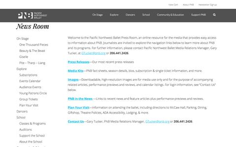 Screenshot of Press Page pnb.org - News Room - Pacific Northwest Ballet - captured Feb. 12, 2020