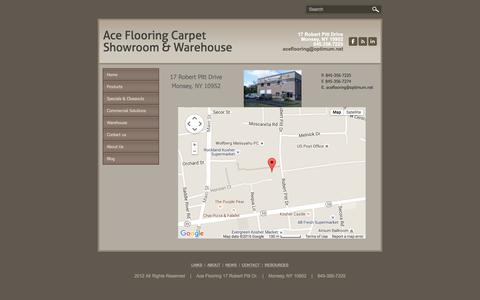 Screenshot of Maps & Directions Page aceflooring.net - Map - Ace Flooring Carpet Showroom & Warehouse - captured Feb. 5, 2016