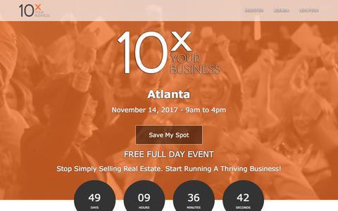 Screenshot of Landing Page tomferry.com - Atlanta 10X Your Business | Tom Ferry - Your Coach - captured Sept. 25, 2017