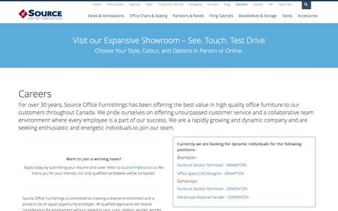 Screenshot of Jobs Page source.ca - Careers | Source Office Furniture - captured Sept. 27, 2016