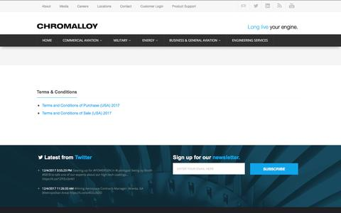 Screenshot of Terms Page chromalloy.com - Terms & Conditions | Chromalloy - captured Dec. 5, 2017