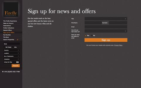 Screenshot of Signup Page firefly-collection.com - Luxury Ski Chalets and Luxury Villas - Firefly Collection | Sign up for news and offers - captured Sept. 22, 2014