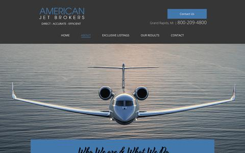 Screenshot of About Page americanjetbrokers.com - American Jet Brokers - captured July 30, 2018
