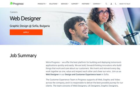 Screenshot of Jobs Page progress.com - Web Designer, Graphic Design @ Sofia, Bulgaria - Progress Careers - captured July 17, 2019