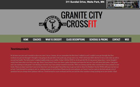 Screenshot of Testimonials Page granitecitycrossfit.com - Testimonials - captured Feb. 1, 2016
